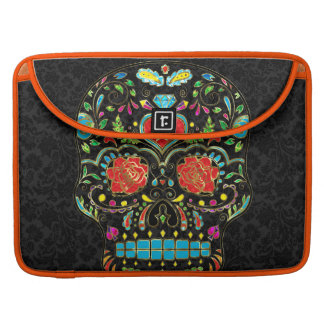 Colorful Floral Sugar Skull Glitter And Gold 2 Sleeves For MacBook Pro
