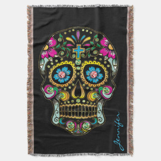 Colorful Floral Sugar Skull Glitter And Gold 2 Throw