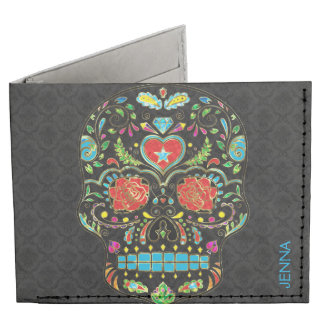 Colorful Floral Sugar Skull Glitter And Gold 2 Tyvek Wallet