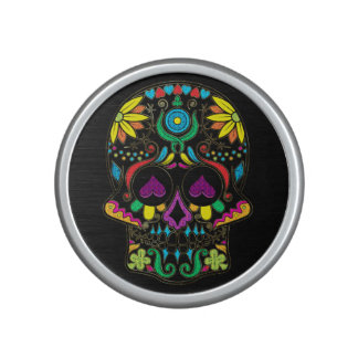 Colorful Floral Sugar Skull Glitter And Gold 3 Bluetooth Speaker
