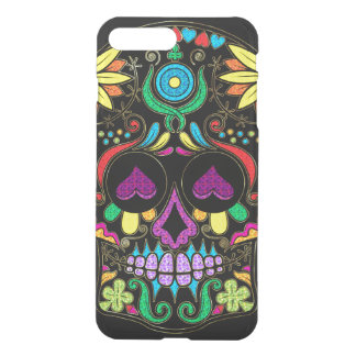 Colorful Floral Sugar Skull Glitter And Gold 3 iPhone 7 Plus Case
