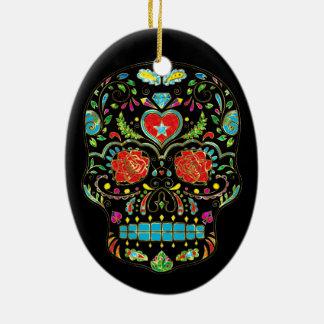 Colorful Floral Sugar Skull Glitter And Gold Ceramic Ornament