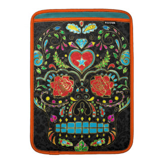 Colorful Floral Sugar Skull Glitter And Gold MacBook Air Sleeve
