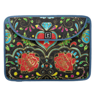 Colorful Floral Sugar Skull Glitter And Gold MacBook Pro Sleeves