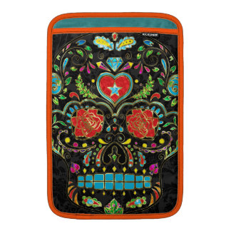 Colorful Floral Sugar Skull Glitter And Gold Sleeves For MacBook Air