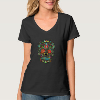 Colorful Floral Sugar Skull Glitter And Gold T-Shirt