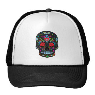 Colorful Floral Sugar Skull Glitter And Gold Trucker Hat