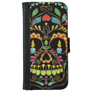 Colorful Floral Sugar Skull Glitter And Gold Wallet Phone Case For iPhone 6/6s