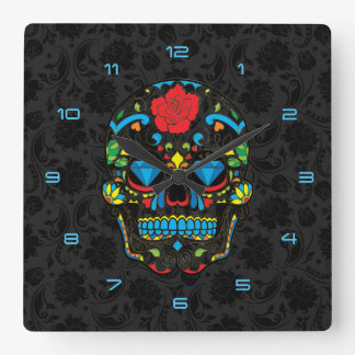 Colorful Floral Sugar Skull Red Rose Blue Diamonds Square Wall Clock