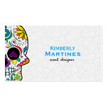 Colorful Floral Sugar Skull & White Damasks 2 Double-Sided Standard Business Cards (Pack Of 100)