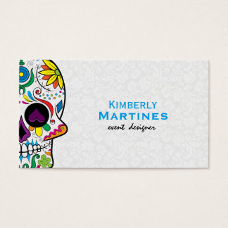 Colorful Floral Sugar Skull & White Damasks 2 Business Card