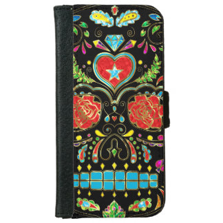 Colorful Floral Sugar Skull With Red Roses Wallet Phone Case For iPhone 6/6s