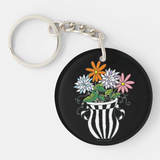 Colorful Floral Vase Keychain