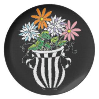 Colorful Floral Vase Plate
