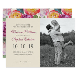 Colorful Floral Watercolor Bouquet - Save the Date Card