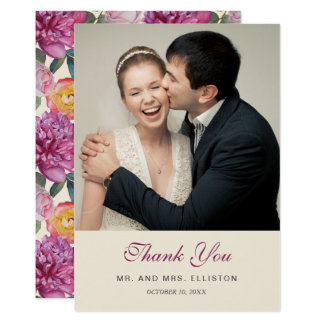 Colorful Floral Watercolor Bouquet | Thank You Card