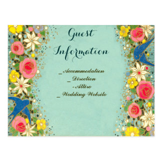 colorful floral wedding guest information postcard