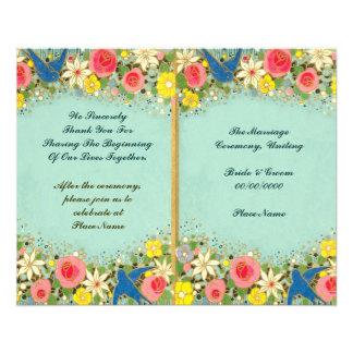 colorful floral wedding program