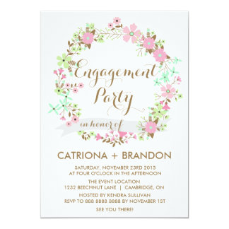 """Colorful Floral Wreath Engagement Party Invitation 5"""" X 7"""" Invitation Card"""