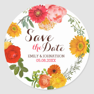 Colorful Floral Wreath- Save The Date Classic Round Sticker
