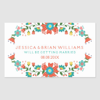 Colorful Floral Wreath Save The Date Rectangular Sticker
