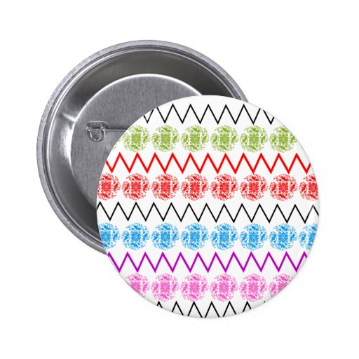 Colorful Floral Zigzag Pattern Buttons