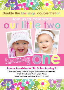 Twins first birthday invitations announcements zazzle colorful florals twin girls first birthday invitation filmwisefo