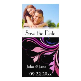 "Colorful Flourish/photo  ""Save the Date"" Card"
