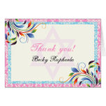 Colorful flourish & Star of David damask Thank You Greeting Card