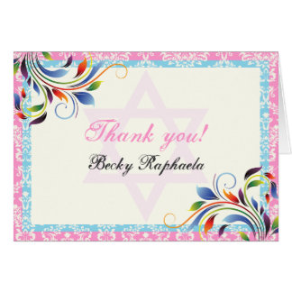 Colorful flourish & Star of David damask Thank You Stationery Note Card