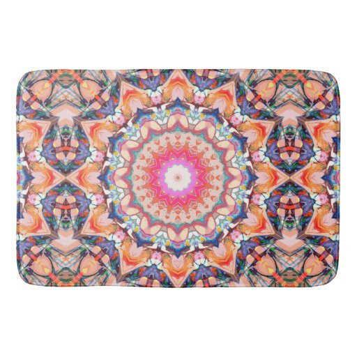 Colorful Flower Abstract Bath Mat Zazzle