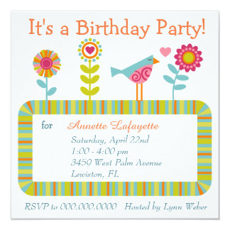 Colorful Flower and Bird Frame Birthday Party 5.25x5.25 Square Paper Invitation Card