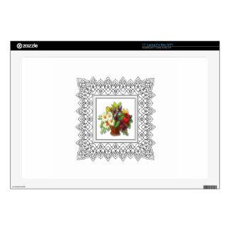 "colorful flower basket decals for 17"" laptops"