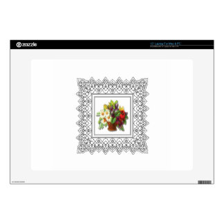 colorful flower basket laptop decal