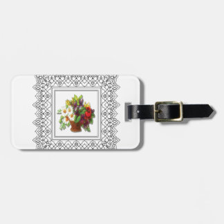 colorful flower basket luggage tag