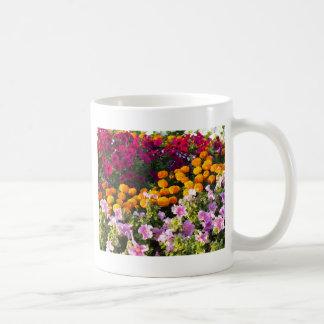 Colorful flower bed coffee mug