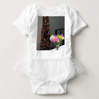 Colorful Flower Bouquet and Christmas Tree Baby Bodysuit