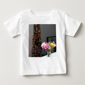 Colorful Flower Bouquet and Christmas Tree Baby T-Shirt