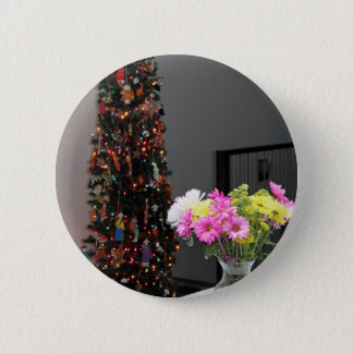 Colorful Flower Bouquet and Christmas Tree Button