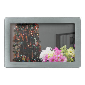 Colorful Flower Bouquet and Christmas Tree Rectangular Belt Buckle