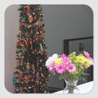 Colorful Flower Bouquet and Christmas Tree Square Sticker