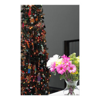 Colorful Flower Bouquet and Christmas Tree Stationery