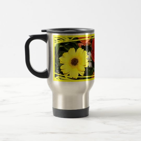 Colorful Flower Bouquet Background Travel Mug
