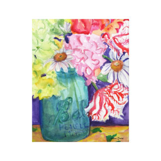 Colorful Flower Bouquet in Canning Jar Canvas Print