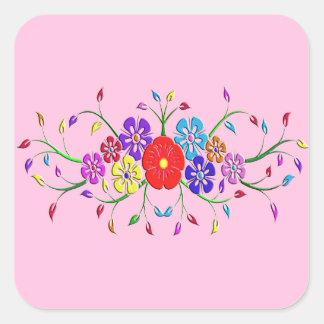 colorful flower bouquet square sticker