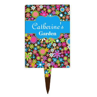 Colorful Flower Custom Garden Marker Cake Topper