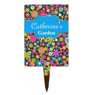Colorful Flower Custom Garden Marker Cake Toppers