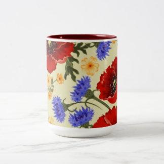 Colorful Flower Design Two Tone Mug