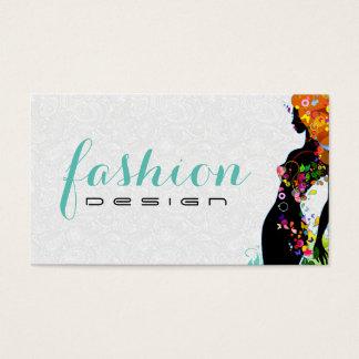 Colorful Flower Girl Fashion Designer 2 Business Card