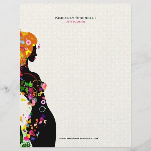 Colorful Flower Girl Letterhead